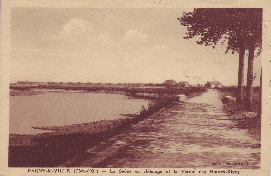 La Saône et la ferme des hautes rives au fond