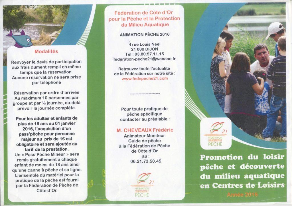 Flyers  2016 de la Fédération de pêche de la Côte d'or