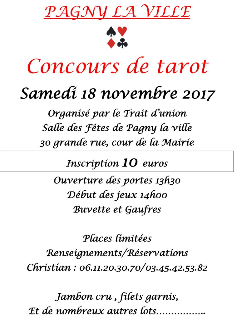 18 Novembre 2017 – Concours de Tarot