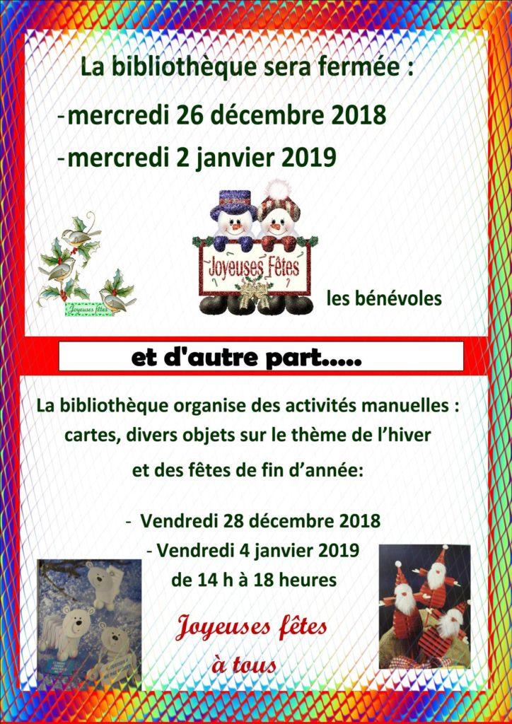 Vacances de Noël  et animations Bibliothèque