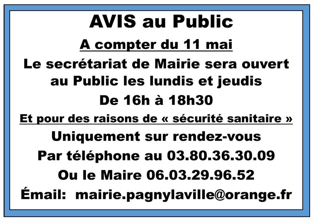 11 mai – Réouverture Mairie