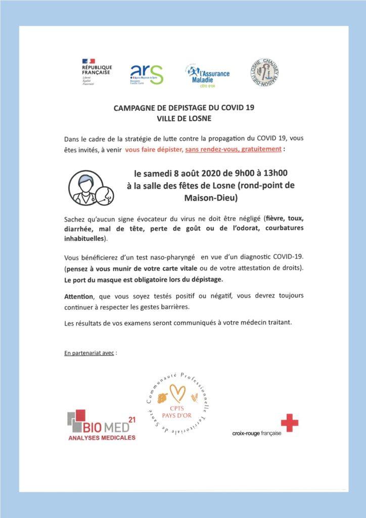 Dépistage COVID 19 à Losne