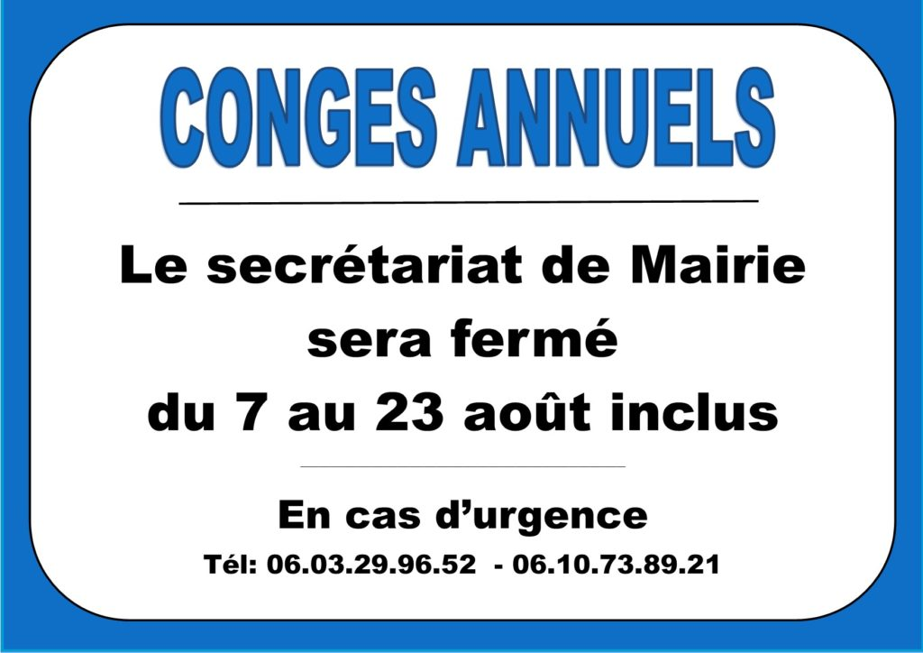 Congés annuels                   Secrétariat Mairie