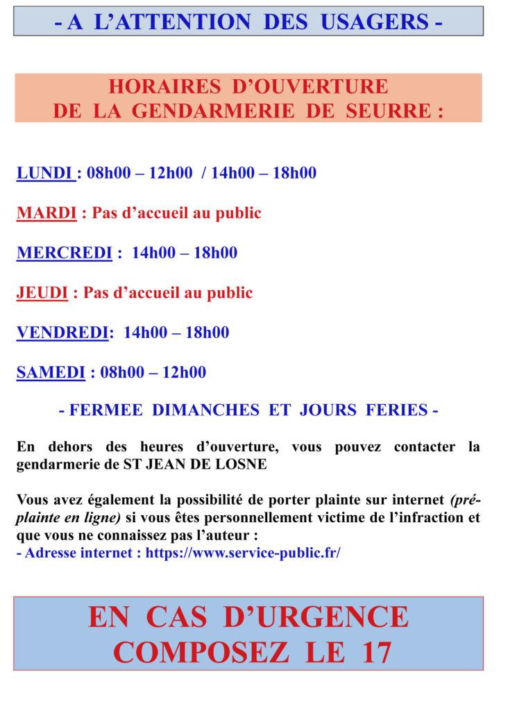 Nouveaux horaires d'accueil gendarmerie de Seurre