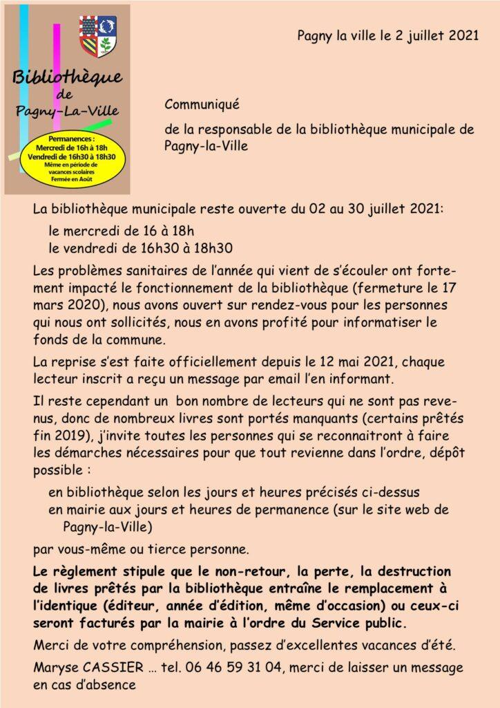 """Communiqué de """"La bibliothèque de Pagny la ville """""""
