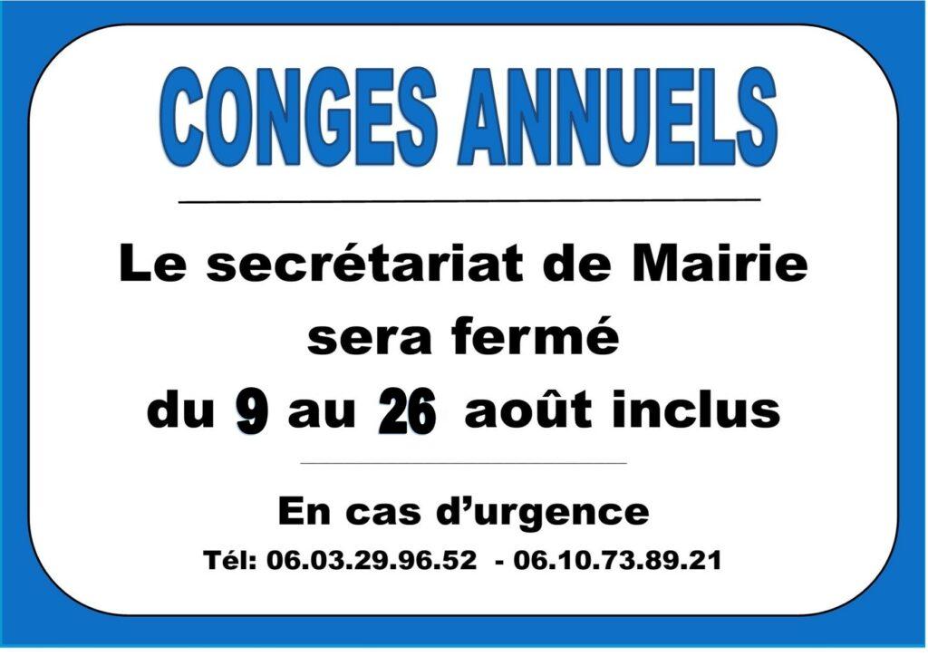 """Congés annuels """"Secrétariat de Mairie""""     de Pagny la ville"""